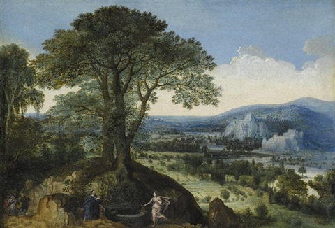 christ and the woman of samaria an extensive landscape beyond by lucas van valkenborch