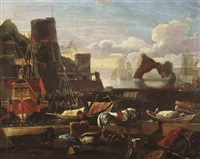 an italian harbor scene with figures and goods on a quay in the foreground by adriaen van der cabel