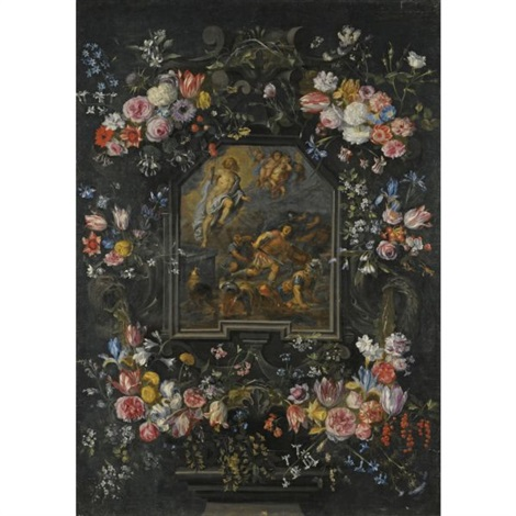 garlands of flowers surrounding a stone cartouche, depicting the resurrection by abraham van diepenbeeck and jan brueghel the younger