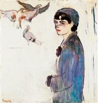 fiatal lány fátylas kalapban, lila kesztyüvel (young girl in a veiled hat with purple gloves) by aurél emöd
