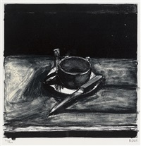 cup, saucer, fork and knife by richard diebenkorn