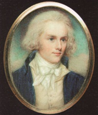 a young gentleman, with powdered hair, wearing blue coat, cream waistcoat and tied white cravat by charles hayter