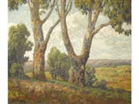 majestic trees with a landscape beyond by maurice braun