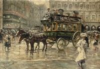 l'omnibus: a busy town square, paris by eugenio alvarez dumont