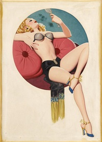 pin-up girl with mirror by enoch bolles