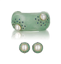 a mabé suite: cuff bracelet; earclips (pair) (3 works) by trianon (co.)