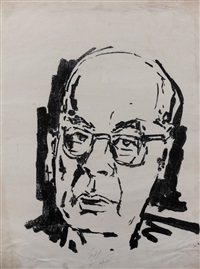 untitled (portrait of ram manohar lohia) by maqbool fida husain