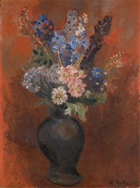 bouquet of flowers on a red background by andré lanskoy
