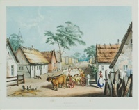 klemsic. a village of german settlers near adelaide. plate 12 from south australia illustrated by george french angas