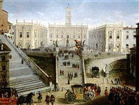 scenes of an elegant procession in the piazza del quirinale & the piazza di spagna by salvatore colonelli-sciarra