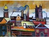 rooftops with church by geoffrey key