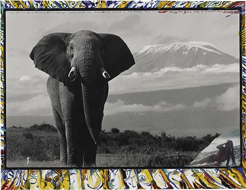 ele in front of kilimanjaro by peter beard