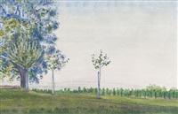 frühlingswiese mit jungbäumen by albert trachsel