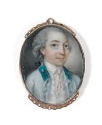 portrait d'homme à la redingote bleu ciel et au col vert coiffé à cato-gan by niklas lafrensen the younger