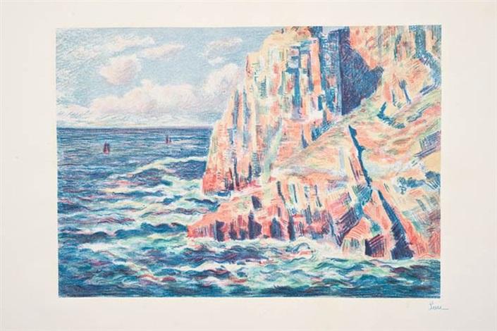 les rochers rouges, ou la mer à camaret (2 works) by maximilien luce