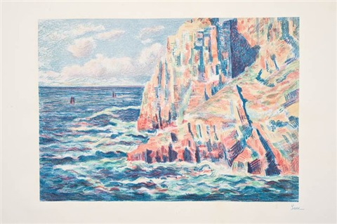les rochers rouges ou la mer à camaret 2 works by maximilien luce