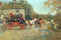 the london to carlisle coach leaving the greta bridge hotel by gilbert scott wright