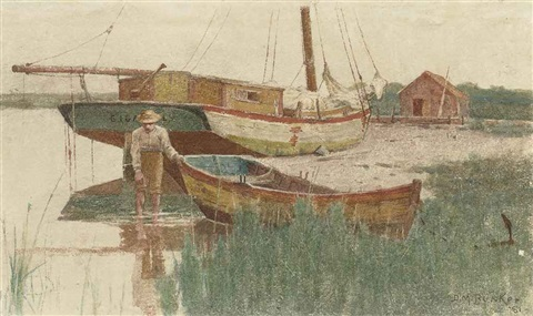 boy with rowboat by dennis miller bunker