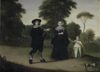 portrait of a gentleman and his family with their dog in an open landscape by gerard van donck