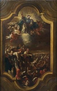 saint charles borromée dans un cadre en trompe l'oeil de forme chantournée dans la partie supérieure et la partie inférieure by domenico antonio vaccaro