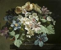 flowers and tortoiseshell butterfly by bennett oates