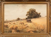 landscape scene featuring team of three horses pulling two farmers cutting hay by frank f. english