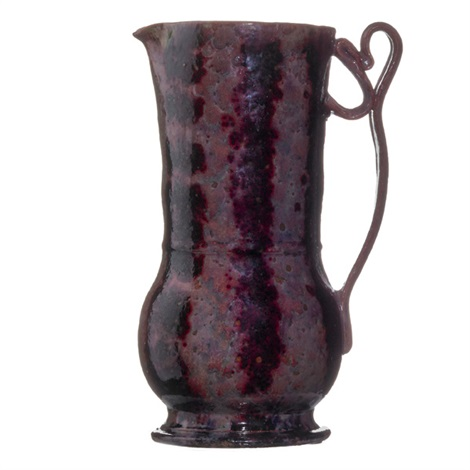 fine and tall pitcher with ribbon handle by george edgar ohr
