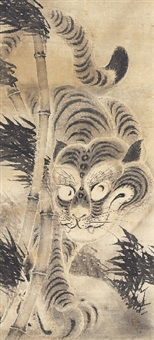tiger and bamboo by japanese school-kano (17)