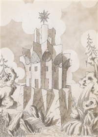 fantasy drawing of a faceted building with shells, surmounted by a star protruding out of a rock by emilio terry