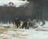 hauling the log by horatio walker