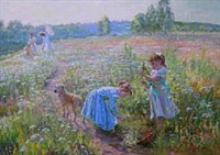 girls picking flowers by aleksandr averin
