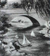 magazine cover: boys playing with sailboats by lawrence beall smith