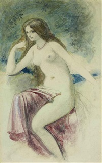 a young lady, seated, wearing a rose-coloured dress (+ a female nude, pencil & wc htnd w/white, lrgr; 2 studies) by william edward frost