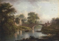 a wooded river landscape, with figures on a boat, a bridge and a village beyond by patrick nasmyth