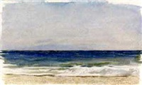 paysage de mer, une plage au premier plan by jules ferdinand jacquemart