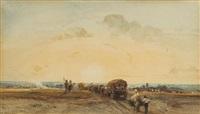 convoi de charrettes au soleil levant by camille joseph etienne roqueplan