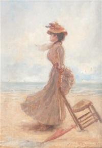 elégante sur la plage by edouard bisson