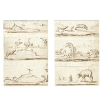animals and hunting (studies; 6 sketchbook pages on 2 sheets) by albert flamen