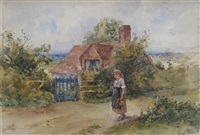 girl holding a jug outside a cottage by minnie smythe