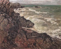 storm on the brittany coast by henry golden dearth