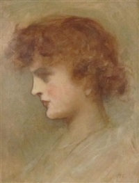 head of a young woman by ambrose mcevoy