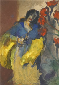 junge frau mit gelber stola und roten blüten (young woman with a yellow stole and red flowers) by emil nolde
