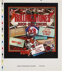 rock and roll circus unreleased album cover (set of 4) by alan aldridge