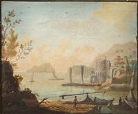 küstenlandschaft mit fischerbooten by hendrick frans van lint