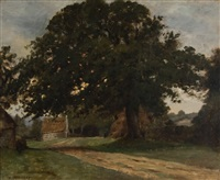 farmyard with trees, house and road by charles corbineau