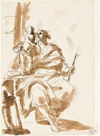 hl. joseph mit dem neben ihm auf einer brüstung stehenden jesusknaben by francesco migliori