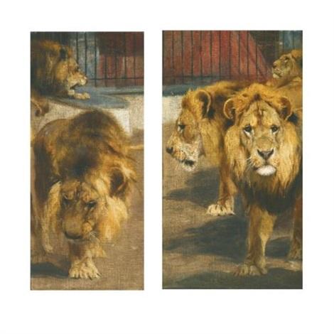 lions pair by wilhelm friedrich kuhnert