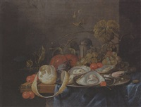 oysters and a prawn on a pewter plate, a partly peeled lemon, plums, grapes and cherries on a partly draped table by guilliam van deynum