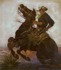 cowboy in black on rearing horse in desert by harold winfield scott