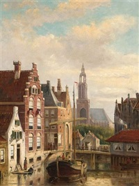 a townview with a barge on the canal by john frederik hulk the younger